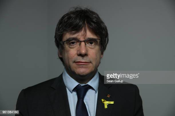 Catalan separatist leader Carles Puigdemont poses for a portrait session on April 26 2018 in Berlin Germany Puigdemont is currently residing in...