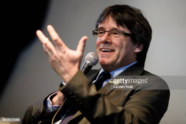 Catalan separatist leader Carles Puigdemont speaks to the media the day after his release from a German prison on April 7 2018 in Berlin Germany...