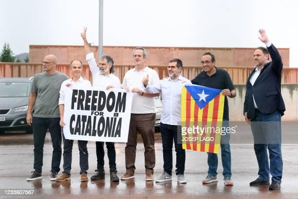Catalan separatists Raul Romeva, Jordi Turull, Jordi Cuixart, Joaquim Forn, Jordi Sanchez, Josep Rull and Oriol Junqueras leave Lledoners jail on...