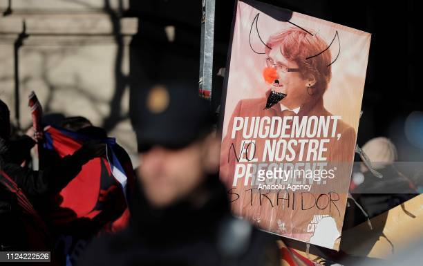 Catalan separatists stage a demonstration outside the court house during a trial of jailed Catalan separatists on February 12 2019 Trial of twelve...