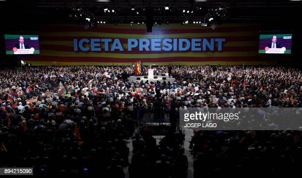 Catalan Socialist party candidate for the upcoming Catalan regional election Miquel Iceta speaks during a campaign meeting in Barcelona on December...