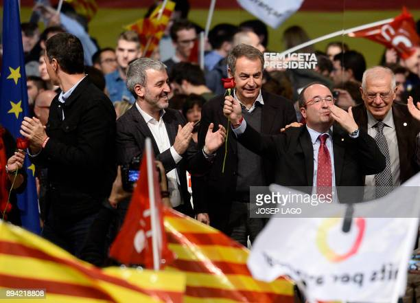 Catalan Socialist party candidate for the upcoming Catalan regional election Miquel Iceta blows a kiss during a campaign meeting in Barcelona on...