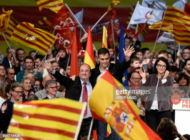 Catalan Socialist party candidate for the upcoming Catalan regional election Miquel Iceta and Spanish Socialist party leader Pedro Sanchez attend a...