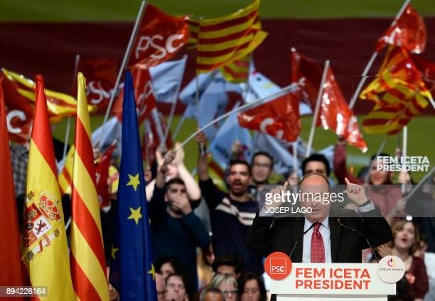 Catalan Socialist party candidate for the upcoming Catalan regional election Miquel Iceta speaks during a campaign meeting for the upcoming regional...