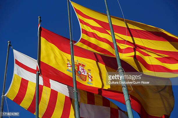 Catalan, Spanish and Barcelona official flags