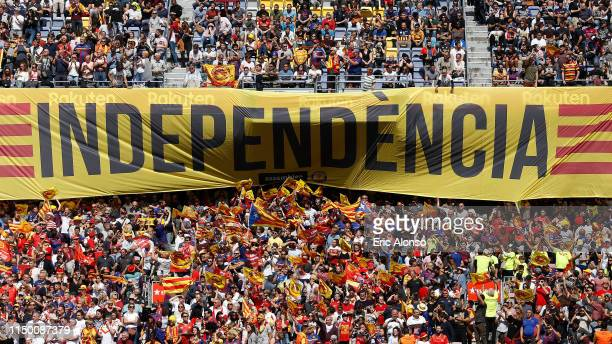 Catalans Dragons fans display a huge banner which it reads 'Independence' in Catalan ahead of the Betfred Super League match at Camp Nou on May 18,...