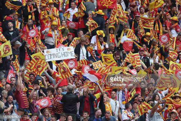 Catalans Dragons fans during the Ladbrokes Challenge Cup Final match between Catalans Dragons and Warrington Wolves at Wembley Stadium on August 25...
