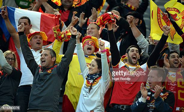 Catalans Dragons fans react during the Super League match between Catalans Dragons and Huddersfield Giants at St James' Park on May 31 2015 in...