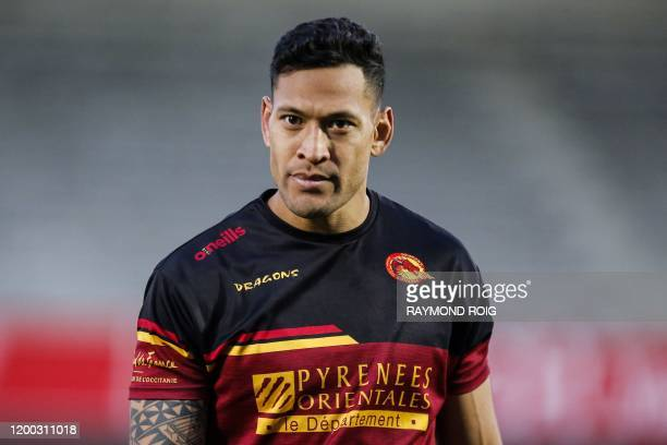 Catalans Dragons' Israel Folau takes part in his first training session at the Gilbert Brutus stadium in Perpignan on February 12 2020 Super League...