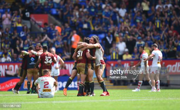 Catalans Dragons players celebrates as they beat St Helens during the Ladbrokes Challenge Cup Semi Final match between St Helens and Catalans Dragons...