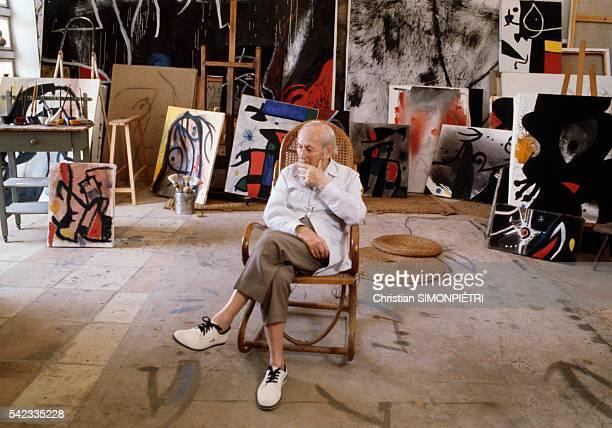 CatalanSpanish painter sculptor and ceramist Joan Miro in his workshop in Palma de Mallorca