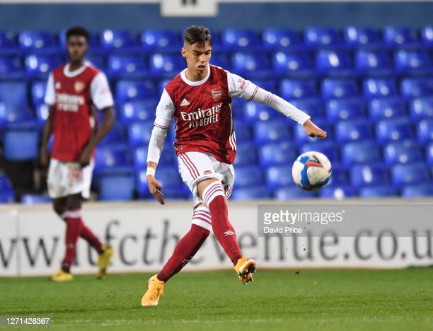 Catalin Cirjan of Arsenal during the Leasingcom Cup match between Ipswich Town and Arsenal U21 at Portman Road on September 08 2020 in Ipswich England