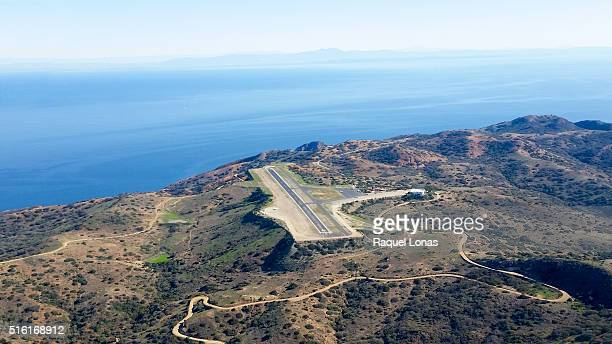 catalina airport runway from the air - catalina island stock photos and pictures