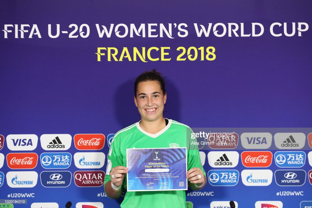 Catalina Coll of Spain poses for a photo after being awarded 'Player of the match' during the FIFA U-20 Women's World Cup France 2018 Semi Final semi final match between France and Spain at Stade de la Rabine on August 20, 2018 in Vannes, France.