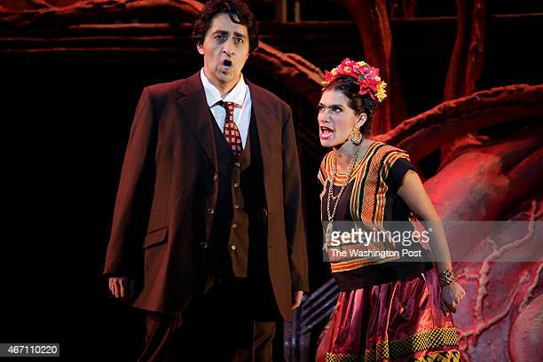 Catalina Cuervo right who plays Frida Kahlo and Ricardo Herrera who plays Diego Rivera perform during rehearsal for the opera musical 'Frida' at the...