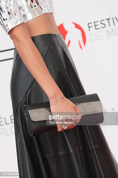 Catalina Denis, clutch detail, attends the 55th Monte Carlo TV Festival Opening Ceremony at the Grimaldi Forum on June 13, 2015 in Monte-Carlo,...