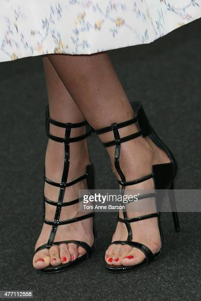 Catalina Denis shoe detail poses at a photocall for the TV series 'PEP'S' during the 55th Monte Carlo TV Festival on June 14 2015 in MonteCarlo Monaco