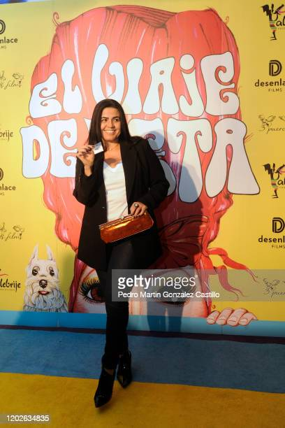 Catalina Lopez poses and shows her entrance ticket during 'El Viaje de Keta' film Red Carpet at Cinemex Reforma 22 on January 28 2020 in Mexico City...