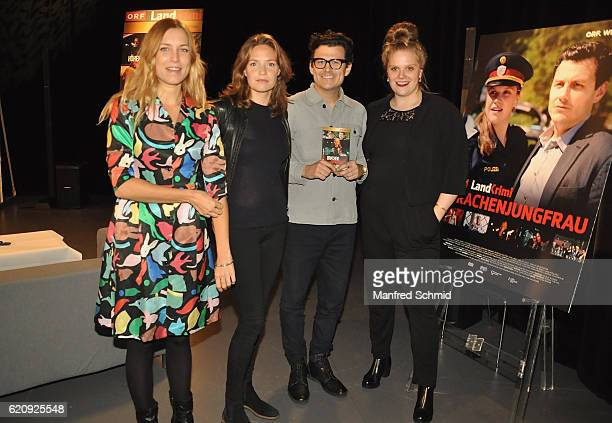 Catalina Molina Patricia Aulitzky Manuel Rubey and Stefanie Reinsperger pose during the 'Landkrimi' presentation in Vienna at ORF Studio 2 on...