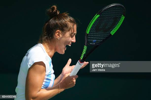 Catalina Pella of Argentina reacts during the fourth day of the Tennis Fed Cup American Zone Group 1 at Club Deportivo La Asuncion on February 09...