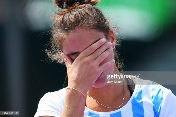 Catalina Pella of Argentina reacts during the third day of the Tennis Fed Cup American Zone Group 1 at Club Deportivo La Asuncion on February 08 2017...