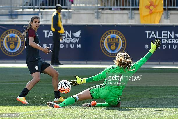 Catalina Perz of Colombia makes a save on a shot by Tobin Heath of the United States during the second half at Talen Energy Stadium on April 10 2016...