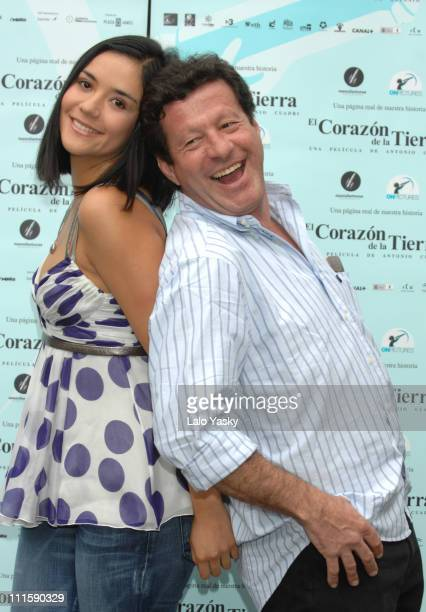 Catalina Sandino Moreno and Joaquim de Almeida during El Corazon de la Tierra Madrid Photocall at Villamagna Hotel in Madrid Spain