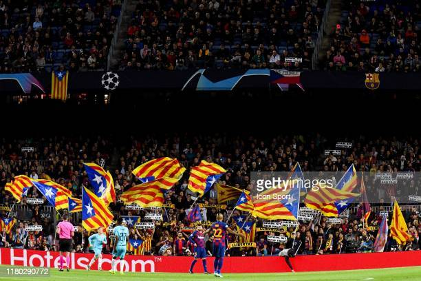 Catalonia independence flags during the Champions League match between Barcelona and Slavia Prague at Camp Nou on November 5, 2019 in Barcelona,...