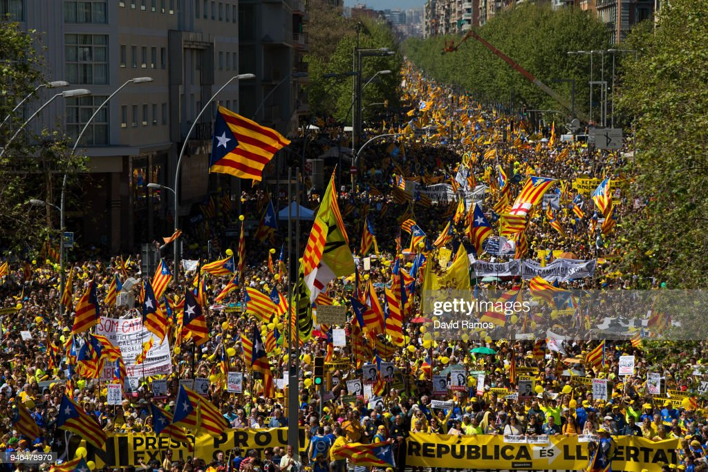 Catalonia Independence supporters march during a demonstration on April 15, 2018 in Barcelona, Spain. Demonstrators march today in Barcelona in support of jailed Catalonian politicians and Pro-Independence social movement leaders.