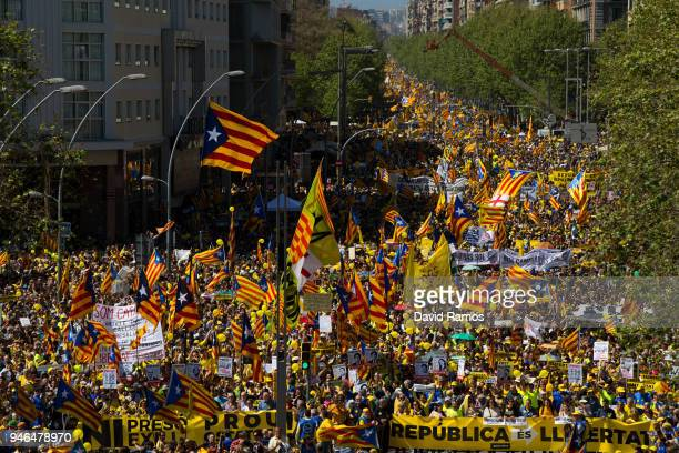 Catalonia Independence supporters march during a demonstration on April 15 2018 in Barcelona Spain Demonstrators march today in Barcelona in support...