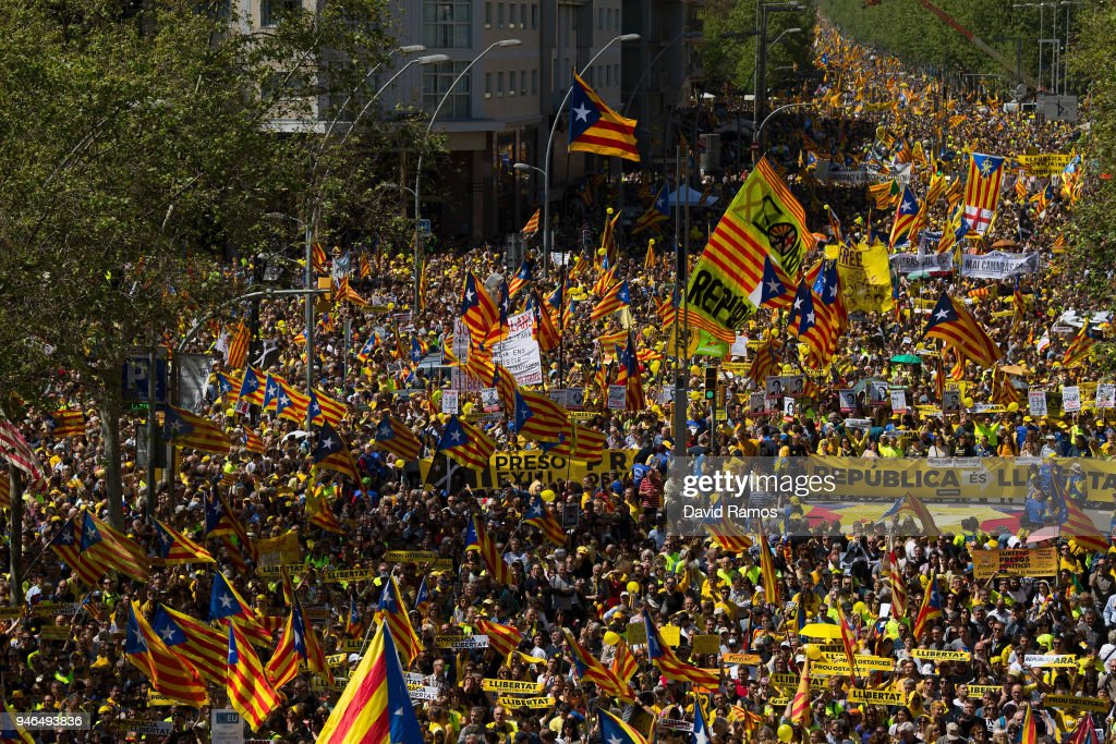 Catalonia Independence supporters march during a demonstration on April 15, 2018 in Barcelona, Spain. Demonstrators march today in Barcelona in support of jailed Catalonian politicians and Pro-Independence social movements leaders.