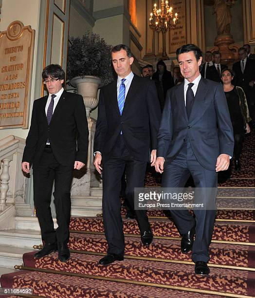 Catalonian Regional Government President Carles Puigdemont King Felipe VI of Spain and Jose Manuel Soria attend Mobile World Congress Official Dinner...