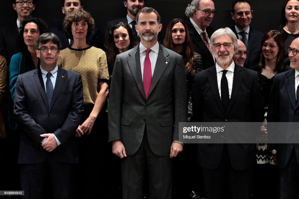 Catalonian Regional Government President Carles Puigdemont, King Felipe VI of Spain and Emilio Cuatrecasas attend the Centenary 1917-2017 lawyers company at the Cuatrecasas Headquarters on February 27, 2017 in Barcelona, Spain.