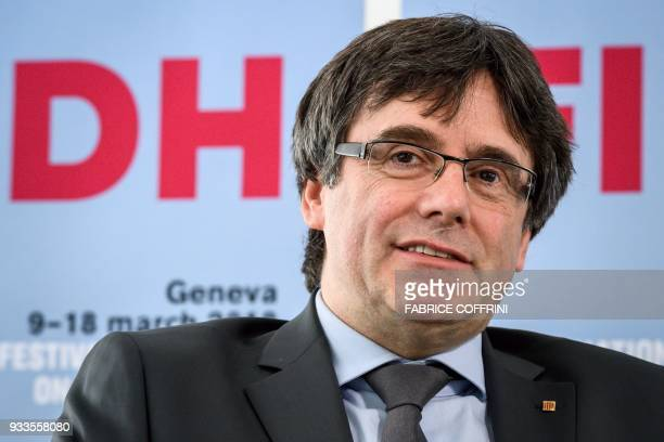 Catalonia's deposed leader Carles Puigdemont smiles during an interview on the sideline of the International film festival and forum of the human...
