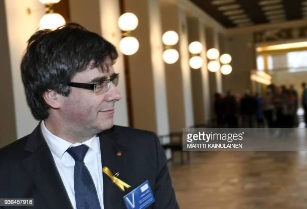 Catalonia's deposed leader Carles Puigdemont visits the Finnish Parliament in Helsinki Finland on March 22 2018 / AFP PHOTO / Lehtikuva / Martti...