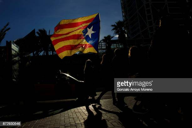 Catalonia's Independence supporters arrive to Marina street prior to start a march during a demonstration on November 11 2017 in Barcelona Spain...