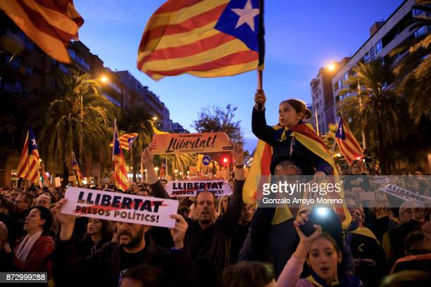 Catalonia's Independence supporters march during a demonstration on November 11, 2017 in Barcelona, Spain. Independence movement associations and...