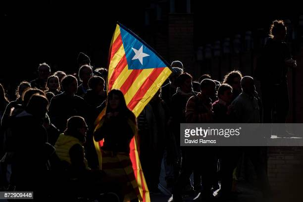 Catalonia's Independence supporters walk prior to a demonstration on November 11 2017 in Barcelona Spain Independence movement associations and...