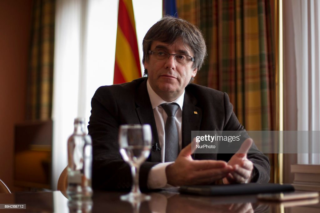 Catalonia's exiled president Carles Puigdemont in an interview in Brussels : News Photo