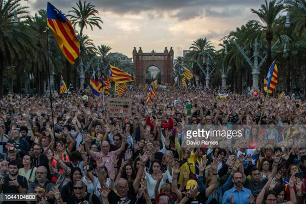 Catalonia's pro independence supporters march during a demonstration to commemorate the first anniversary of the Independence referendum in front of...
