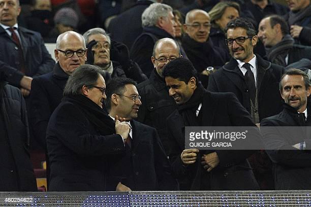 Catalonia's regional government president Artur Mas Barcelona's President Josep Maria Bartomeu and Paris SaintGermain's Qatari president Nasser...