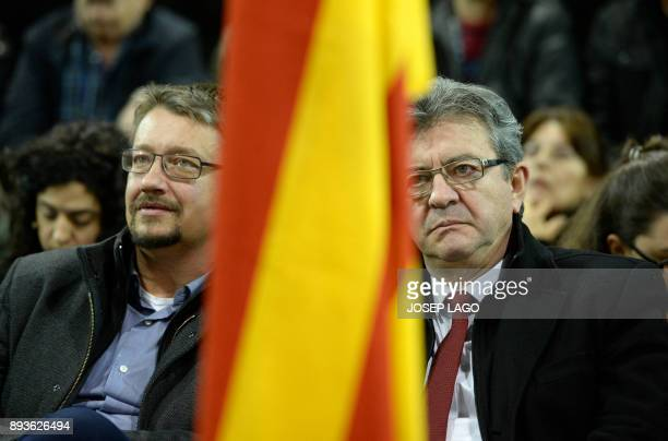 'Catalunya en comu podem' electoral coalition candidate Xavi Domenech and Leader of French leftist party 'La France insoumise' JeanLuc Melenchon take...