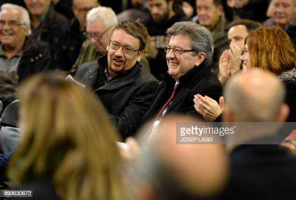 'Catalunya en comu podem' electoral coalition candidate Xavier Domenech and Leader of French leftist party 'La France insoumise' JeanLuc Melenchon...