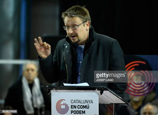 'Catalunya en comu podem' electoral coalition candidate Xavier Domenech speaks during a campaign meeting for the upcoming Catalan regional election...