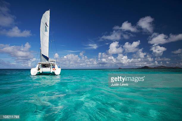 catamaran boat on open water shot midday - catamaran stock photos and pictures