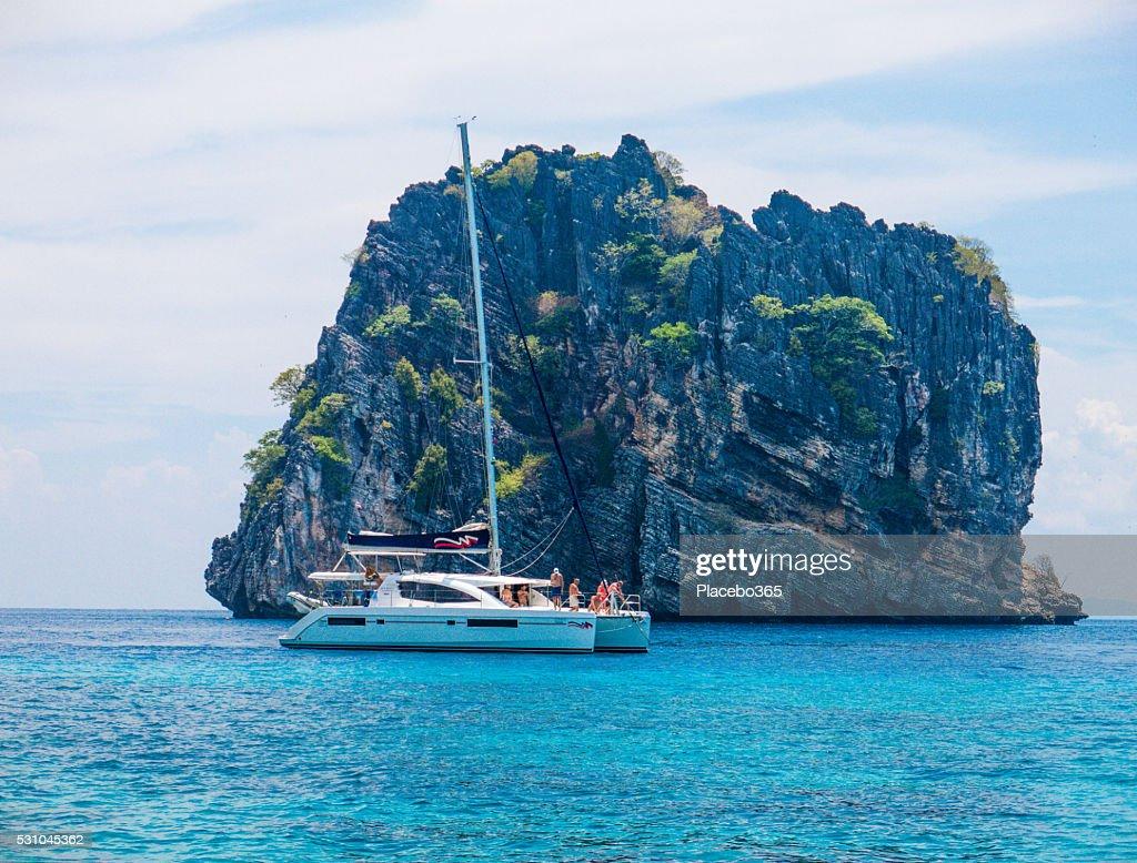 Catamaran Boat sailing at Koh Haa Neung Island, Andaman : Stock Photo