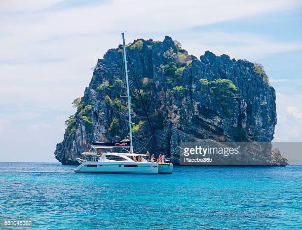 catamaran boat sailing at koh haa neung island, andaman - catamaran stock photos and pictures