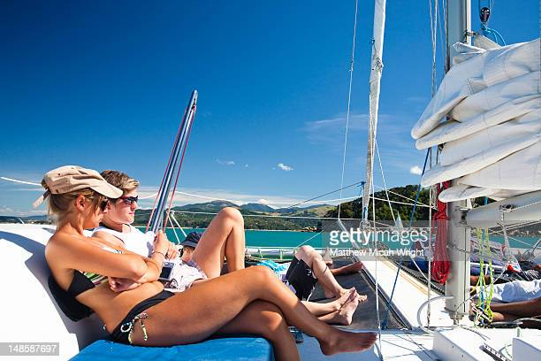 A catamaran cruise is an excellent way to tour the Abel Tasman National Park. Stunning views of the coastline and numerous islands are best seen from a boat