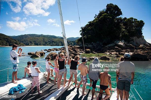 A catamaran cruise is an excellent way to tour the Abel Tasman National Park. Stunning views of the coastline and numerous islands are best seen from a boat. The pinnacle Island seal colony is a great place to stop and watch the seals