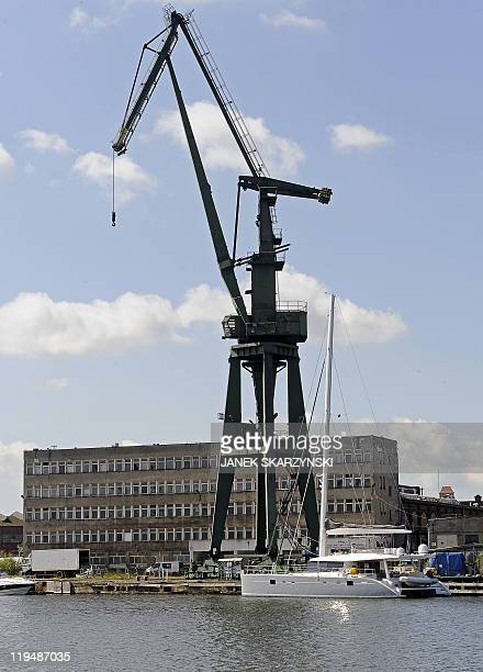A catamaran is seen at the harbour of Poland's historic communistera Gdansk Shipyard on June 22 2011 Polish yachts are making waves reinventing the...
